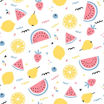 Diseño de patrones sin fisuras de mezcla de frutas tropicales