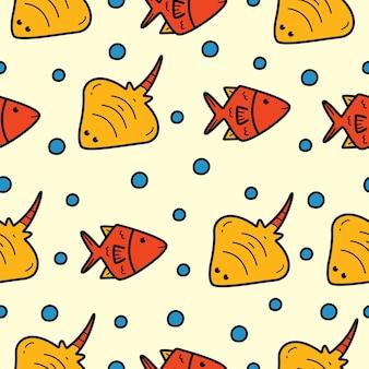 Diseño de patrones sin fisuras de peces de dibujos animados