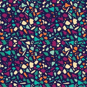 Diseño de patrones sin fisuras de terrazo con rocas dibujadas a mano.