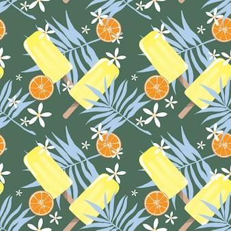 Diseño de patrones sin fisuras de vacaciones de verano con paletas de helado, flores diminutas, hojas y naranja.