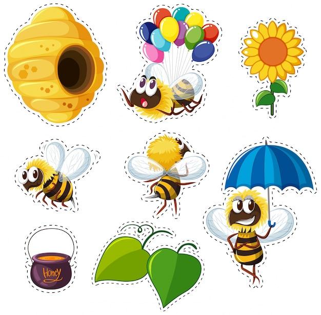 Diseño de pegatinas para abejas y colmenas