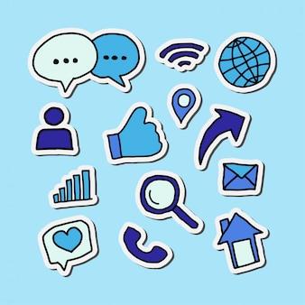 Diseño de pegatinas azules con íconos de redes sociales