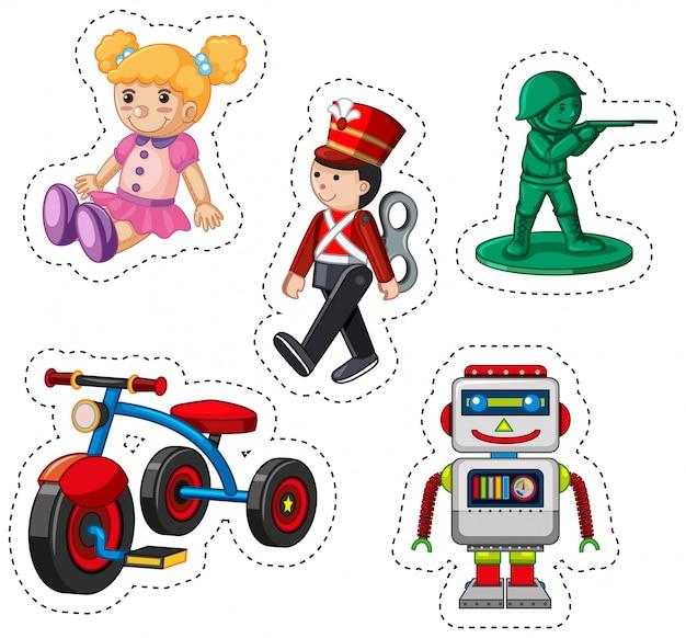 Diseño de pegatinas para diferentes juguetes.