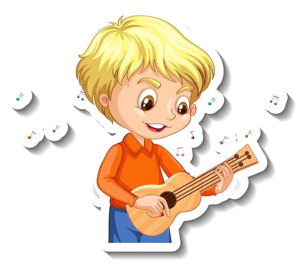 Diseño de pegatinas con un niño tocando el ukelele.