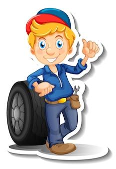 Diseño de pegatinas con personaje de dibujos animados de mecánico de automóviles.