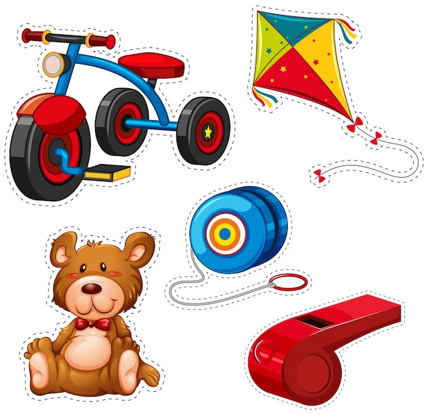 Diseño de pegatinas con triciclo y otros juguetes
