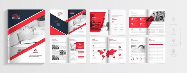 Diseño de perfil de empresa creativo con formas de color rojo.