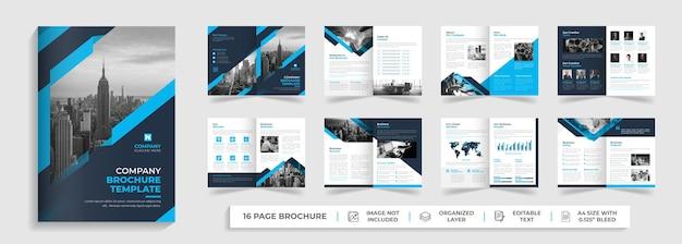 Diseño de perfil de empresa de folleto plegable de negocios corporativos modernos de 16 páginas