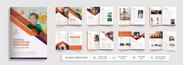Diseño de perfil de empresa de plantilla de folleto plegable de admisión de educación para niños de regreso a la escuela