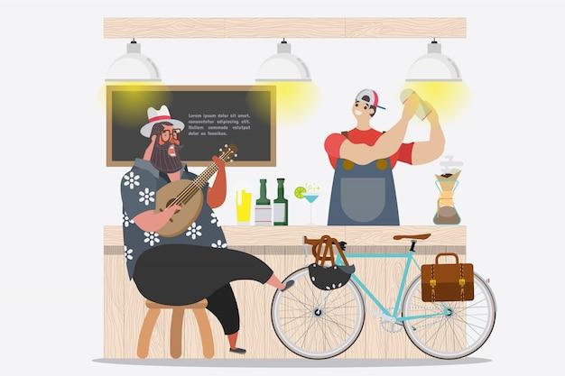 Diseño de personaje de dibujos animados. fat guy buen humor cantando y tocando ukulele en el frente de bar en la temporada de verano