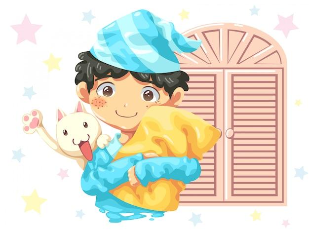 Diseño de personaje de dibujos animados de niño vistiendo pijamas y gato