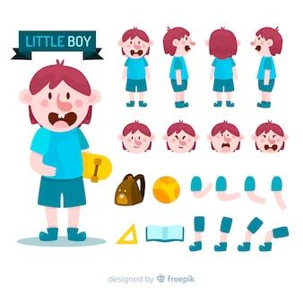 Diseño de personaje de dibujos, niño dividido en partes para hacer animaciones