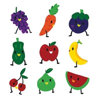 Diseño de personaje de fruta feliz