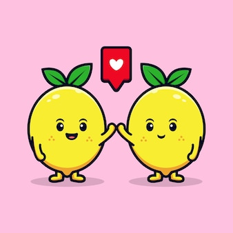Diseño de personaje de limón lindo con ilustración de mascota plana de alta cinco pose