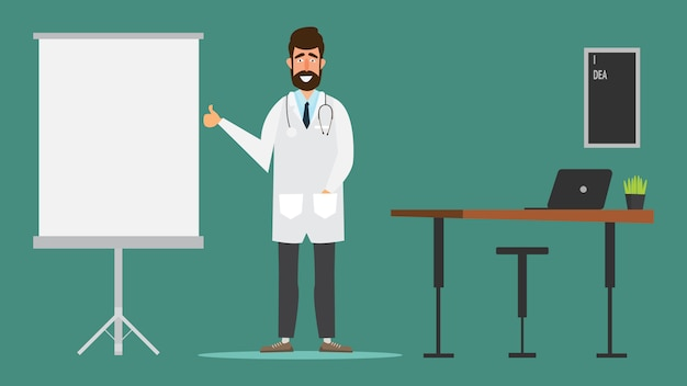 Diseño de personaje médico en la versión de consultorio médico del hospital pulgares arriba.