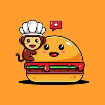 Diseño de personaje de mono lindo temático deliciosas comidas de hamburguesa