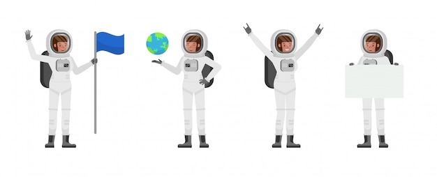 Diseño de personaje de mujer astronauta