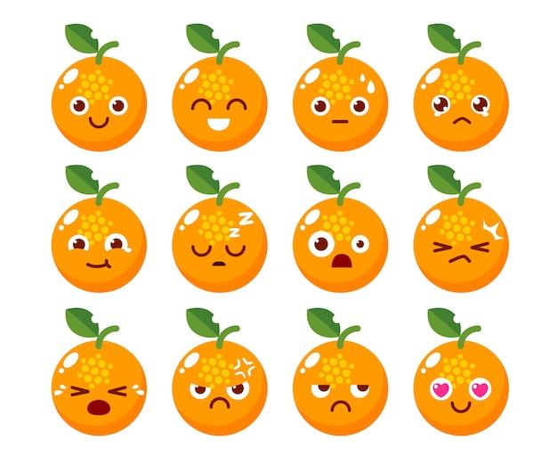 Diseño de personaje naranja en varias emociones.