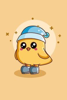Diseño de personaje de pájaro lindo con sombrero.