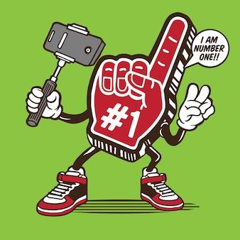 Diseño de personaje selfie de espuma de mano número uno