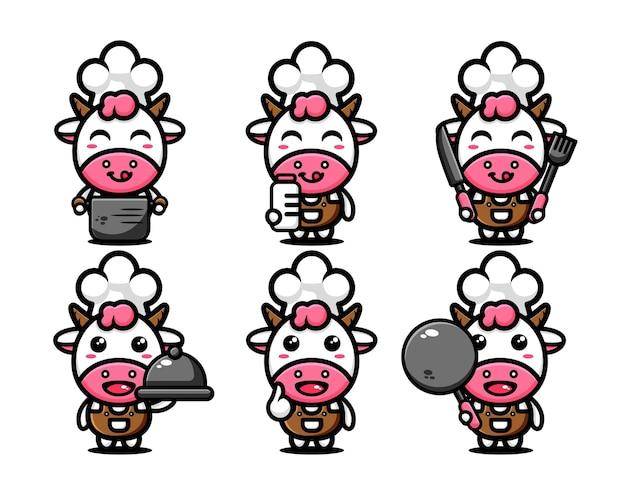 Diseño de personaje de vaca lindo set chef temático