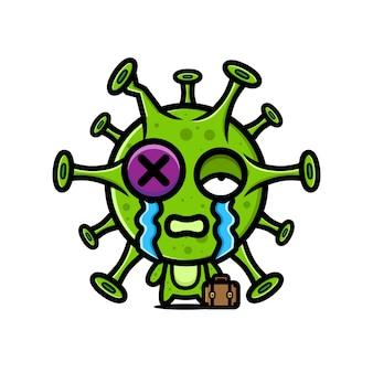 Diseño de personaje de virus maltratado