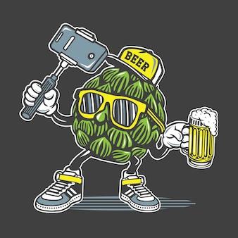 Diseño de personajes de cerveza selfie