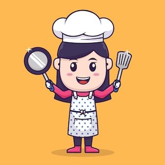 Diseño de personajes de chef girl