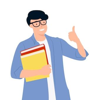 Diseño de personajes de dibujos animados gente joven estudiante sosteniendo libros con el pulgar hacia arriba teniendo una buena idea. ideal tanto para impresión como para diseño web.