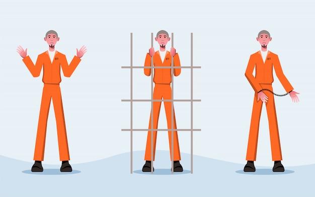Diseño de personajes de disfraz de prisionero plano en blanco y negro -