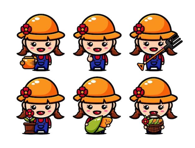 Diseño de personajes de granjero lindo con equipos agrícolas