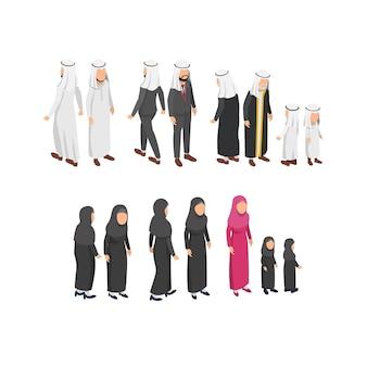 Diseño de personajes isométricos con ropa tradicional árabe