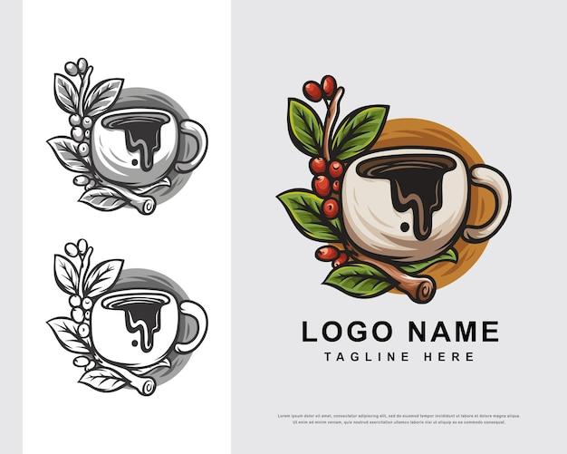 Diseño de personajes de logotipo de café