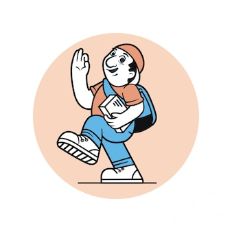 Diseño de personajes de mensajero hombre ilustración vectorial