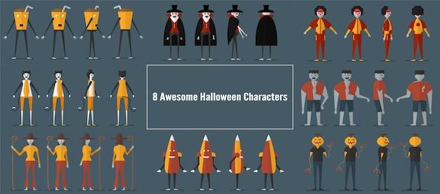 Diseño de personajes de monstruos para el día de halloween.