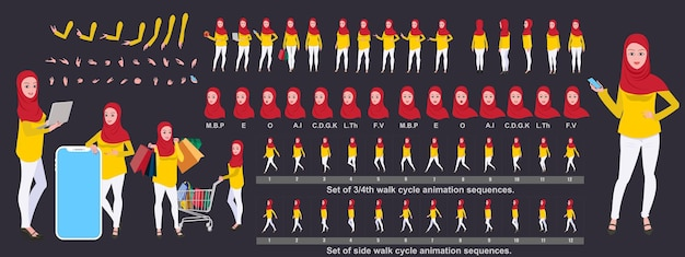 Diseño de personajes de niña islámica, conjunto de personajes de poses de animación