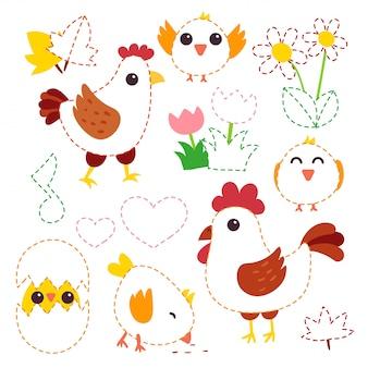 Diseño de personajes de pollo vector