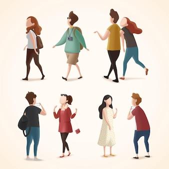 Diseño de personajes de turistas en fondo blanco