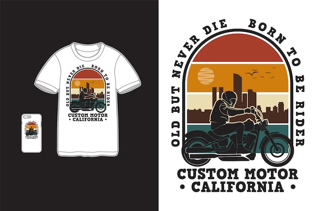 Diseño personalizado de motor california para camiseta silueta estilo retro
