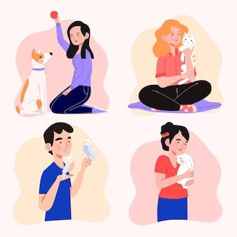 Diseño de personas jugando con sus mascotas