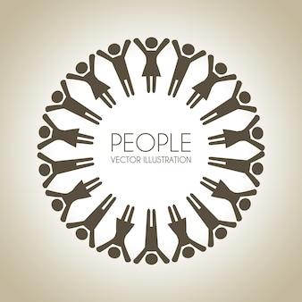 Diseño de personas sobre fondo beige ilustración vectorial