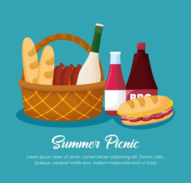Diseño de picnic verano con cesta y comida sobre fondo azul, diseño colorido. ilustración vectorial