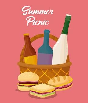 Diseño de picnic verano con cesta y comida sobre fondo rosa, diseño colorido. ilustración vectorial