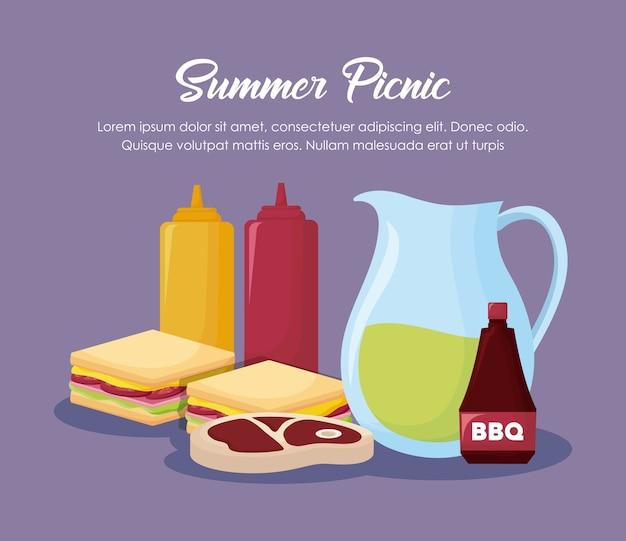 Diseño de picnic de verano con jarra de limonada y comida sobre fondo púrpura, diseño colorido. vector