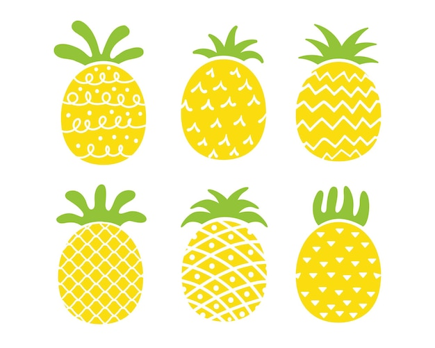 Diseño de piña la fruta amarilla es refrescante. para trabajos de decoración en verano.