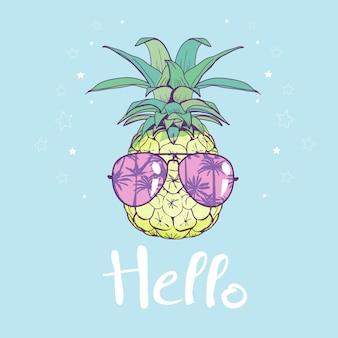Diseño de piña con gafas, exótico, comida, fruta, ilustración naturaleza piña verano tropical