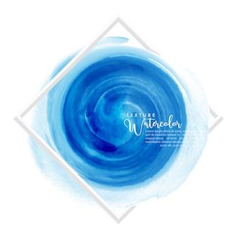 Diseño de pincel de acuarela azul círculo sobre marco cuadrado blanco
