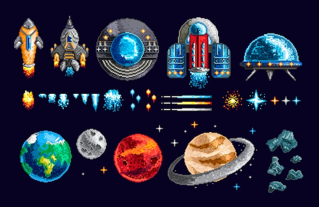 Diseño de píxeles de naves espaciales y planetas.