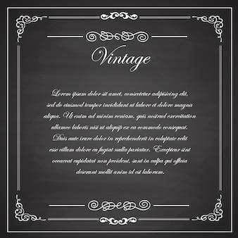 Diseño de pizarra en blanco negro. marcos vintage