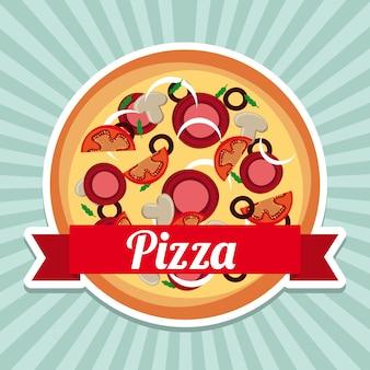 Diseño de pizza sobre fondo grunge ilustración vectorial
